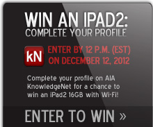 Win an iPad2: Complete your AIA KnowledgeNet online profile by December 12, 2012